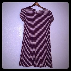 Beautiful summer dress. Maroon with white stripes